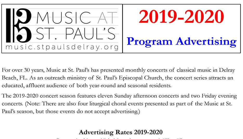 St.Paul's Music 2019-20 Program Schedule