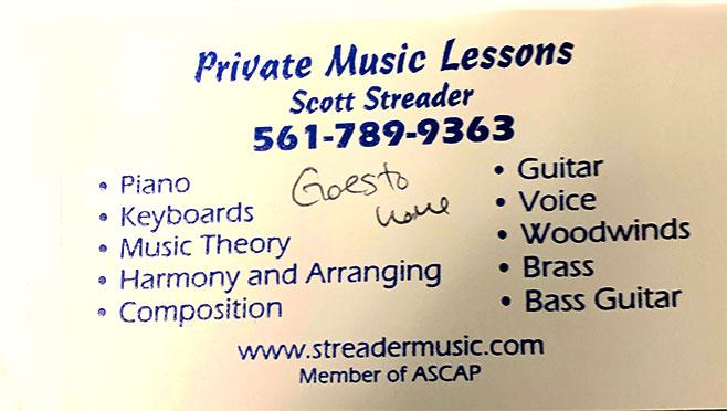 Scott Streader music tuition