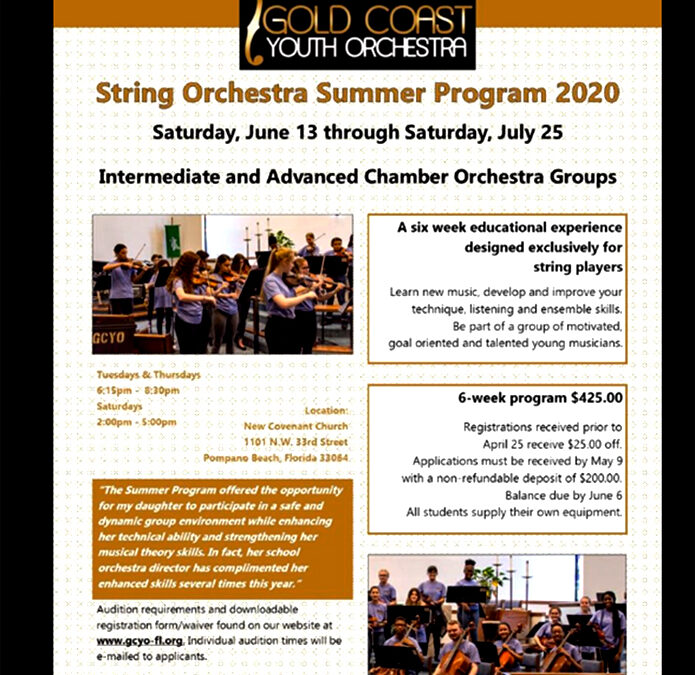 Gold Coast Youth Orchestra – Schedule & Auditions 2020