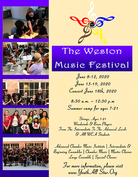 Weston Music flyer – schedule 2020